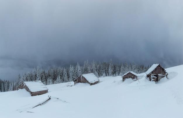 Montanhas majestosas da paisagem misteriosa do inverno dentro. magica
