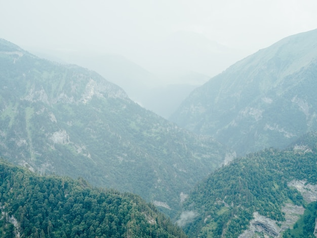 Montanhas natureza ar fresco vapor nevoeiro árvores bela paisagem.
