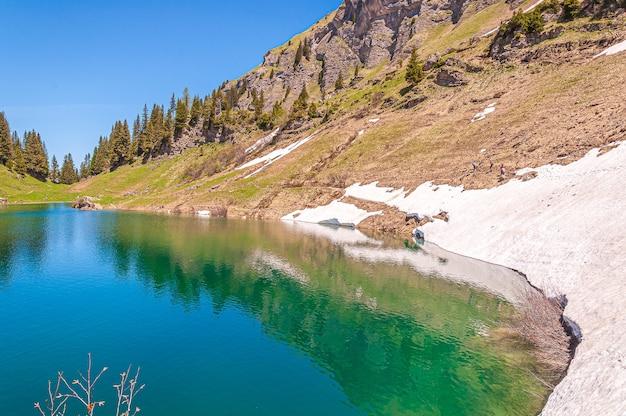 Montanhas, neve e árvores na suíça cercadas pelo lago lac lioson