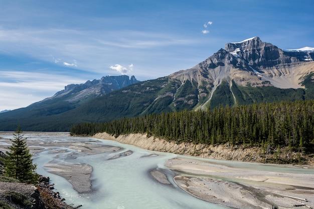 Montanhas rochosas. canadá. estrada icefields, rio sunwapta