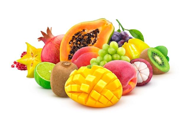 Monte de frutas exóticas frescas