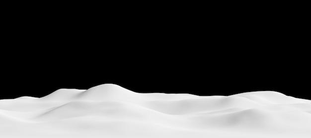 Monte de neve em fundo preto renderização 3d