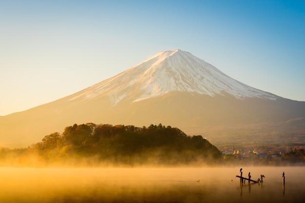 Monte fuji, em, lago, kawaguchiko, amanhecer