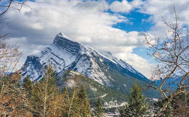 Monte rundle coberto de neve com o parque nacional banff da floresta nevada