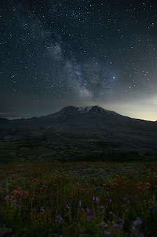 Monte st. helens sunset sky estrelas milkway