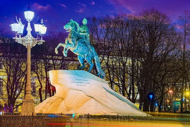 Monumento a pedro i (o grande). são petersburgo. rússia.