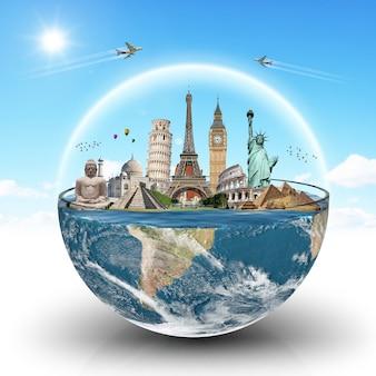 Monumentos do mundo em um copo de água