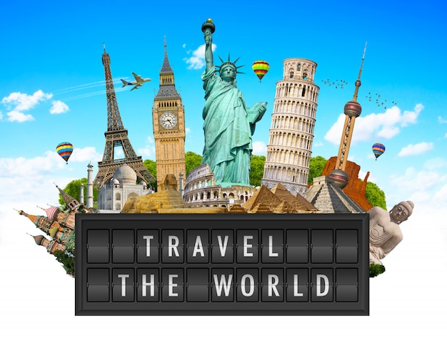 Monumentos do mundo em um painel de outdoor do aeroporto
