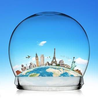 Monumentos do mundo em uma bola de neve