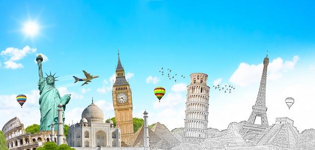 Monumentos famosos do mundo agrupados