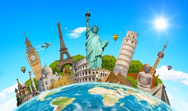 Monumentos famosos do mundo em torno do planeta terra