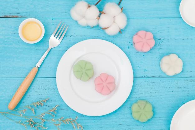 Mooncake delicioso com pele de gelo