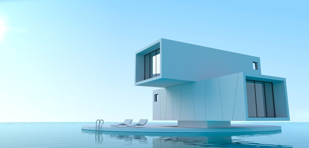Moradia de minimalismo de conceito no mar