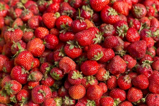Morango vermelho fresco fruta colorida padrão textura de fundo