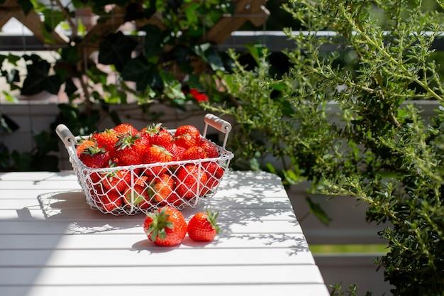 Morangos em uma cesta na mesa de madeira branca na superfície da natureza, deliciosas frutas orgânicas como um conceito de vitaminas de verão