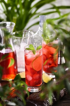 Morangos frescos combinados com suco fresco e tequila este coquetel mojito