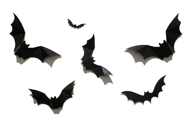 Morcego de papel preto em um fundo branco. conceito de halloween. com uma sombra negra e dura.