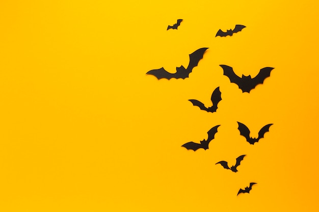 Morcegos de halloween com fundo laranja
