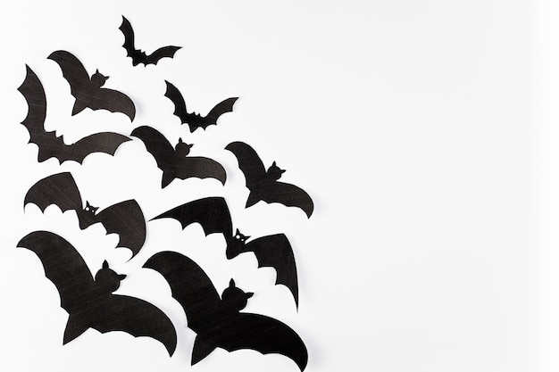 Morcegos decorativos pretos sobre fundo branco
