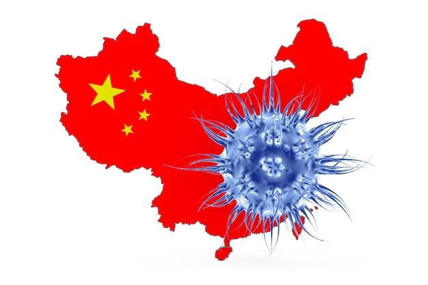 Mortal 2019 - ncov wuhan corona virus na frente do mapa da china em um fundo branco. renderização 3d