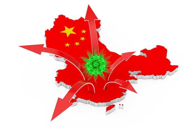Mortal 2019 - vírus ncov wuhan corona com o mapa da china e as setas de propagação da doença em um fundo branco. renderização 3d