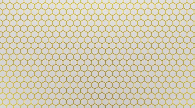 Mosaico de azulejos hexagonais de cerâmica branca com argamassa dourada nas costuras. plano de fundo, padrão de luxo. renderização 3d.