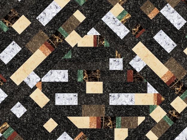 Mosaico em pedra natural, mármore e granito. textura de fundo