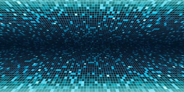 Mosaico quadrado verde mostrar resultados em perspectiva em execução no centro imagem de fundo para ilustração 3d de tecnologia de ciência