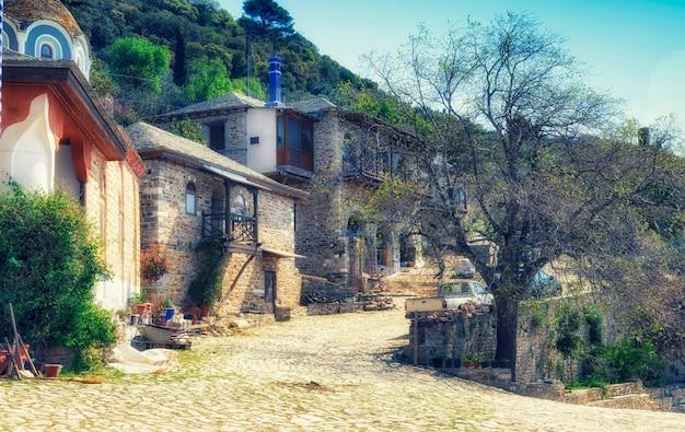 Mosteiro de dochiariou, península de athos, monte athos, chalkidiki, grécia