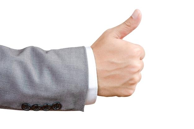 Mostra da mão do homem de negócios como no fundo branco.