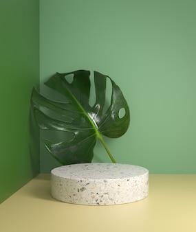 Mostrador de pódio branco de maquete natural mínimo com folhas de monstera fundo de planta tropical renderização em 3d