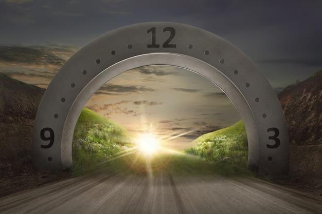 Mostrador de relógio no arco de gateway