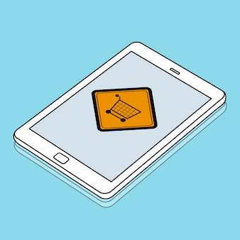 Mostrando o sinal do carrinho de compras on-line