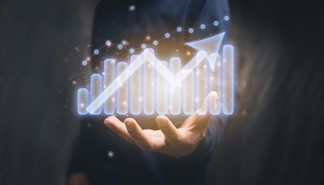 mostrar gráfico de ilustração de crescimento de negócios de ações