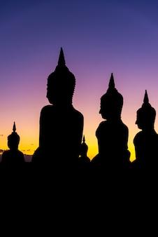 Mostre em silhueta a estatura grande de buddha com cor do crepúsculo do céu, público em tailândia