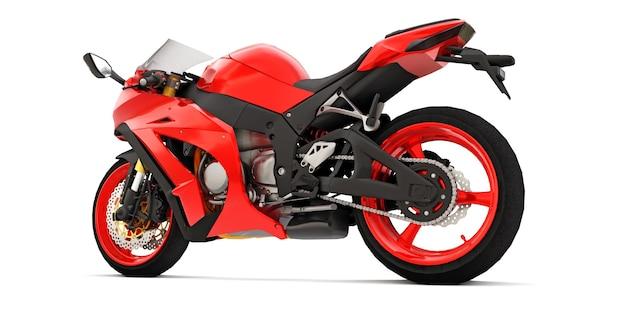 Moto 3d super esportes vermelha em fundo branco isolado. ilustração 3d.