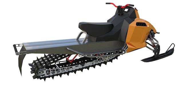 Moto de neve. tipos de equipamentos de diferentes lados. renderização 3d.