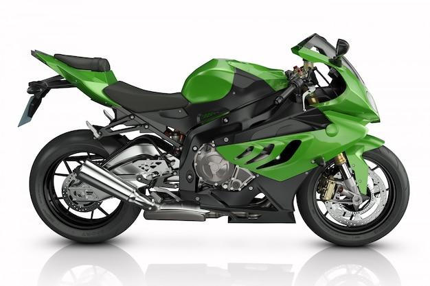 Moto esporte verde.