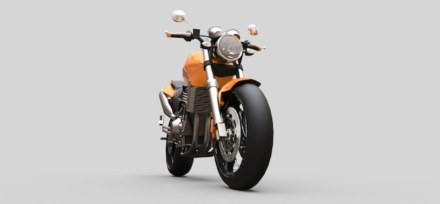 Moto esportiva urbana de dois lugares laranja em uma superfície cinza