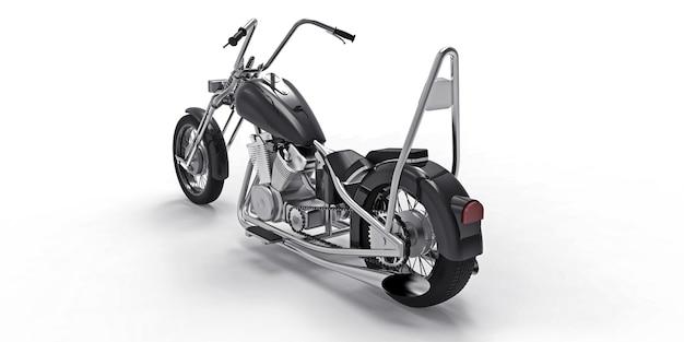 Moto preta clássica personalizada isolada na superfície branca