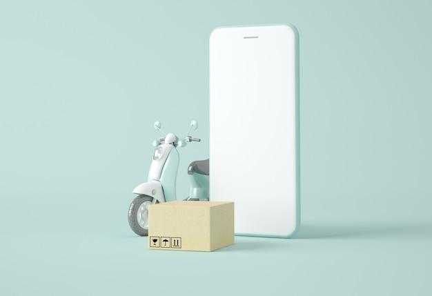 Moto, smartphone e caixa de cartão