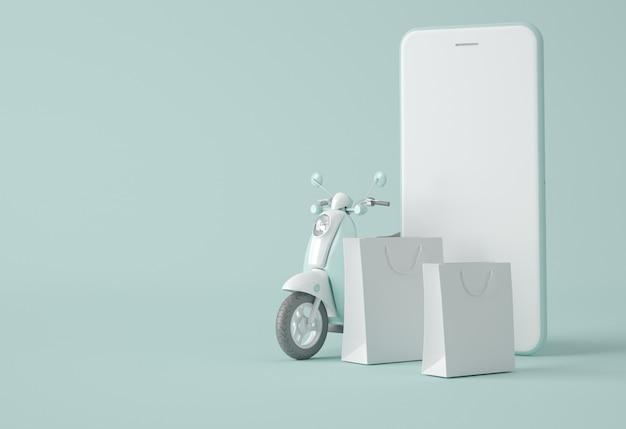 Moto, smartphone e sacolas de compras