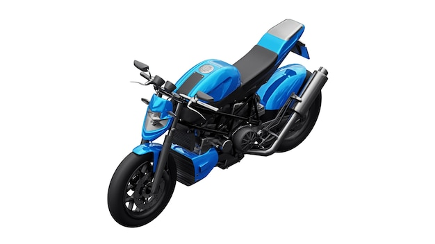 Moto superesportiva azul na ilustração 3d de fundo branco