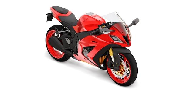 Moto superesportiva vermelha 3d em superfície branca isolada
