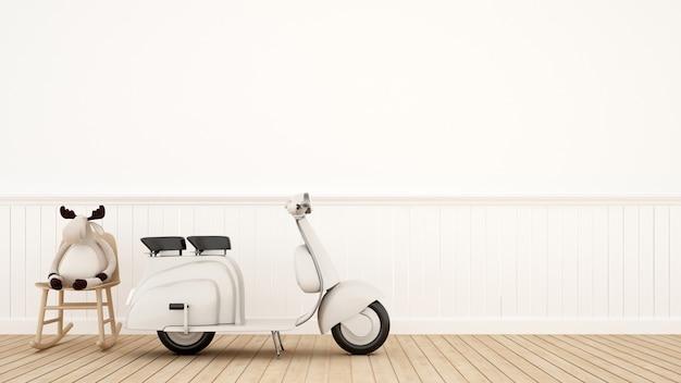 Moto vintage com rena de boneca na cadeira de balanço - renderização 3d