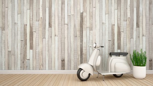 Moto vintage e planta na sala vazia para obras de arte