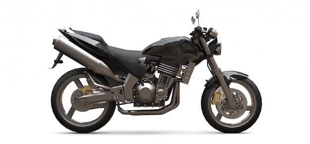 Motocicleta de dois lugares esporte urbano preto sobre um fundo branco