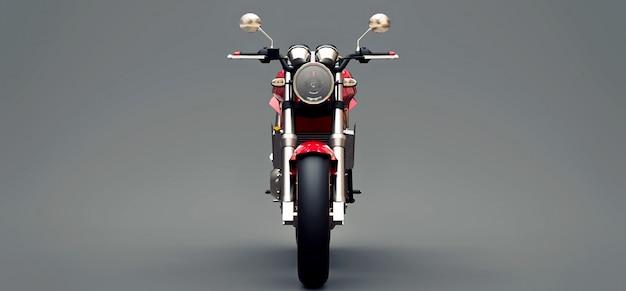 Motocicleta de dois lugares esporte urbano vermelho sobre um fundo cinza. ilustração 3d