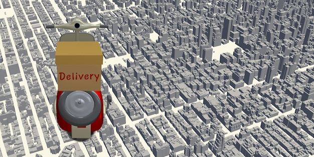Motocicleta de entrega mapa da cidade, ponto do localizador de coordenadas do gps, ilustração 3d do sistema de entrega online