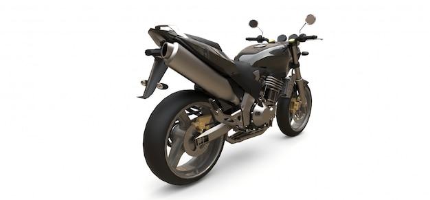 Motocicleta esportiva de dois lugares preta